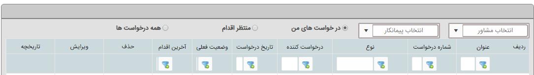 فیلتر درخواست های ثبت شده